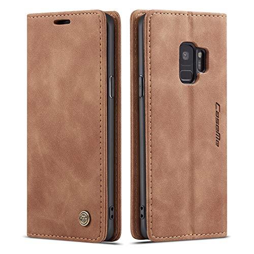 QLTYPRI Hülle für Samsung Galaxy S9, Vintage Dünne Handyhülle mit Kartenfach Geld Slot Ständer PU Ledertasche TPU Bumper Flip Schutzhülle Kompatibel mit Samsung Galaxy S9 - Braun