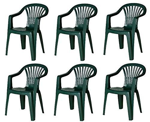 MAURY'S Set Sedie da Giardino Kona in Polipropilene Colore Verde 55 X 53 X 82 Cm (6)
