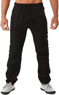 Vanvene - Pantaloni da uomo con orlo aperto, in lino, stile casual, con coulisse elastica, pantaloni da yoga, spiaggia
