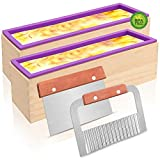 Silicone Soap Mold - 2Pcs Flexible Rectangular Loaf Mold Comes with Wood Box, Stainless Steel Wavy + Straight Scraper for CP and MP Soaps Making Supplies
