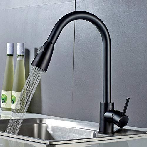 Hancoc Chapado de cristal negro tire de la cocina caliente y frío grifo de cobre cuerpo fregadero fregadero universal giratorio grifo del fregadero