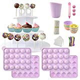 Cake Pop Maker Set Including Silicone Lollipop Molds, 3 Tier Display Stand, Silicone Cupcake Molds, Chocolate Candy Melting Pot, Lollipop Sticks, Decorating Pen, Bags and Twist Ties (Purple)