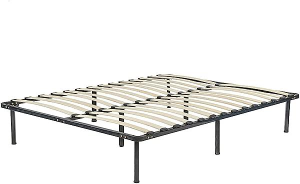 PayLessHere Bed Frame Wood Platform Bed Frame Black Steel Frame With Wood Slat Support King Size