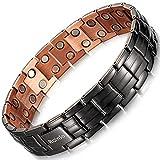 RainSo Mens Matt Gun Black Copper Double Row Magnetic Therapy Bracelets for Arthritis 3500 Gauss Wristband Adjustable (Gun Black)