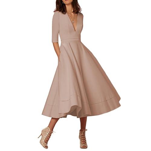 f589e19aab6 OMZIN Women Deep V Neck Cocktail Banquet Bridesmaid Party Dresses Gown Plus  Size