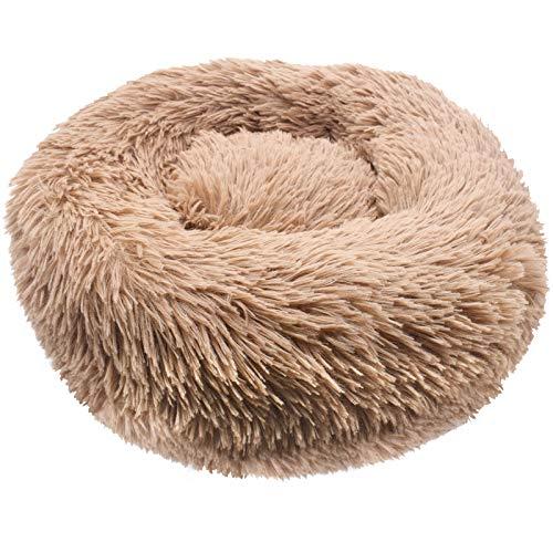 Cama de Mascotas Donut Cama Redonda Felpa para Perros Cómodo Suave Segura Lavable a Máquina Duradera para, Cama para Perros Gatos Mediano Pequeño 40CM(Caqui diámetro)