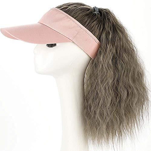 YEKEYI Perruque queue de cheval avec bonnet de baseball synthétique avec cheveux attachés - Bonnet long ondulé - - Taille Unique