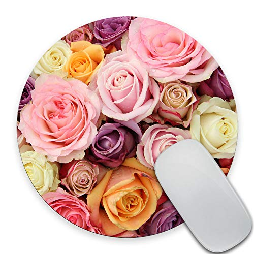 SSOIU Floral Round Mouse Pad Circular Flowers Mouse Pads Pink Purple Yellow