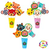 Haooryx 30Pcs JJ Melon Centerpieces Decorations Stick Table Toppers, Birthday Party Favor Double Sided Cake Topper Photo Booth Props for Kids Super Baby JoJo Theme Party Supplies Baby Shower Decor