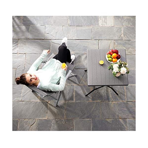 SONGMICS Gartenstuhl, Klappstuhl, Outdoor-Stuhl mit robustem Aluminiumgestell, Rückenlehne 8-stufig verstellbar, bis 150…