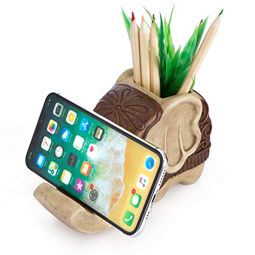 Pen Pencil Holder with Phone Stand, Coolbros Resin Shaped Pen Container Cell Phone Stand Carving Brush Scissor Holder Desk Organizer Decoration for Office Desk Home Decorative (Elephant)