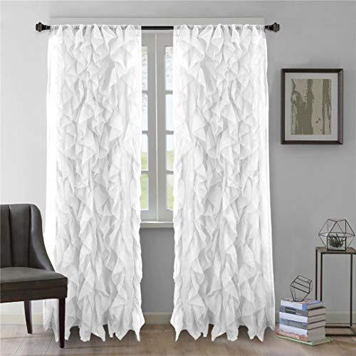 "DiamondHome 2pc Cascade Shabby Chic Sheer Ruffled Curtain Panel (White, 63"" L Panel Pair)"