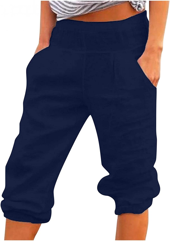 WUAI-Women Plus Size Linen Yoga Sweatpants Capri Casual Elastic Waist Loose Workout Jogger Comfy Lounge Cropped Pants