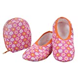 Snoozies Skinnies & Travel Pouch   Purse Slippers for Women   Travel Flats with Pouch   Cute Prints Mixed Designs   Flowers on Pink   Medium