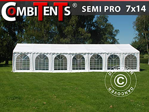 Dancover Partyzelt Pavillon Festzelt, SEMI PRO Plus CombiTents® 7x14m 5-in-1, Weiß