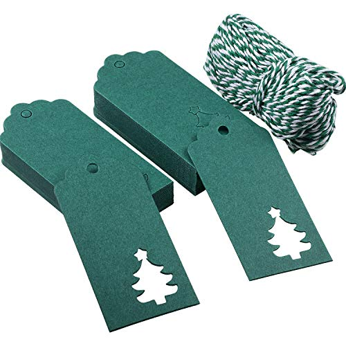 Sumind 100 Pack Paper Gift Tags Crafts Tags Hollow Christmas Tree Design Hang Labels with 30 Meters Twine for Christmas Wedding Favor (Green)