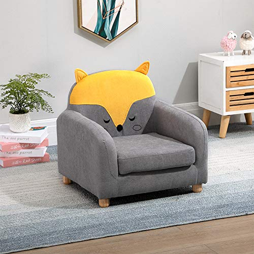 Ansley&HosHo-EU Cute Children Sofa Chair, Upholstered Linen Fabric Single Sofa Couch for Kids Toddlers, Cushioned Sofa Armchair Cup Chair for Kids Room Playroom Living Room Bedroom, Fox