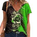 Elesoon Camiseta de verano para mujer, talla grande, 3D, impresión gráfica de rosa, manga corta, suelta, cuello en V, A-verde, 42