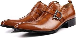 Men's Monk Shoes,Banquet Wedding Dress Shoes Buckle Business Leather Shoes Retro Cowhide Footwear,Brown-37