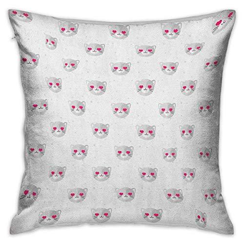 Emoji Square Throw Pillow Covers Caras de gato con ojos rosados en forma de corazón Animal romántico Gatito Mascota enamorada Pale GRey Pink White Fundas de cojín Fundas de almohada para sofá Dormit