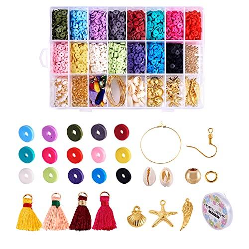 PandaHall Lot de 3000 perles rondes plates en argile polymère Heishi de 6 mm avec perles de coquillage, pendentifs de style tibétain, crochets de boucles d'oreilles en laiton et pampille en nylon