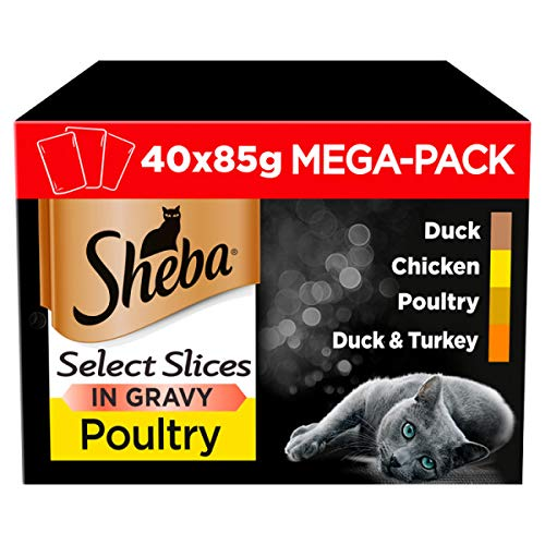 Sheba Select Slices in Gravy – Poultry Selection – Wet cat food pouches for adult cats – 40 x 85 g Pack
