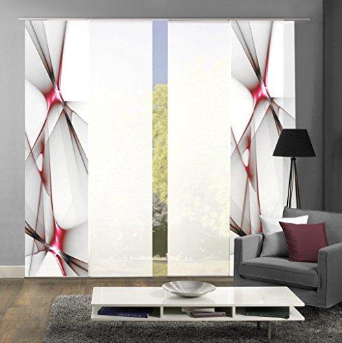 Home Fashion Set-Angebot Flächenvorhang KINGFIELD | wahlweise 3er-, 4er-, 5er oder 6er-Set in blau, rot oder apfelgrün | bestehend aus Motiv- und Uni-Flächenvorhängen | je 245x60 cm (4, rot)