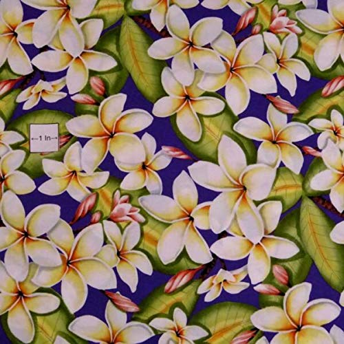 JOELLE STORE Hawaiian Print, Life-Sized Pua Melia (Plumeria Flowers) on Purple, By the Half-Yard JOELLE STORE