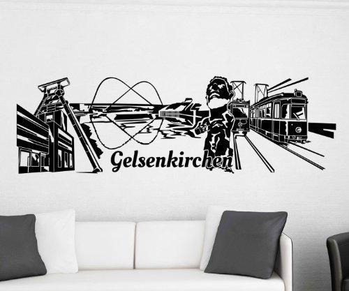 Wandtattoo Gelsenkirchen Skyline Aufkleber City Stadt Wandbild Deutschland 1M507, Farbe:Pink glanz;Skyline Länge:160cm