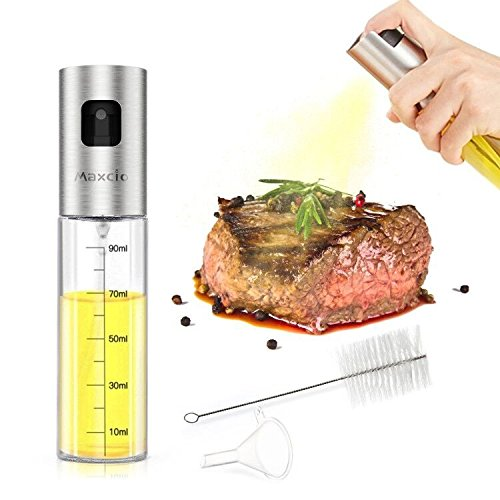 [On Sale]Olive Oil Sprayer, Maxcio Glass Oil Dispenser with Scale, Oil/Vinegar Bottle with Stainless Steel Nozzle, Clean Brush and Funnel for BBQ/Kitchen/Baking/Grilling/Frying, 3.42OZ/100ml