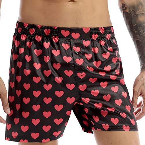 Aiihoo Herren Satin Boxershorts Boxer Briefs mit Herz Muster Glänzend Kurze Hose Männer Unterwäsche Unterhose Badeshorts Mehrere Stile Schwarz XL
