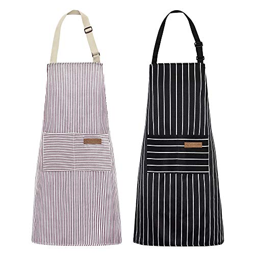 2 Pack Kitchen Cooking Aprons Adjustable Bib Soft Chef Apron with 2 Pockets for Men Women Black/Brown Stripes