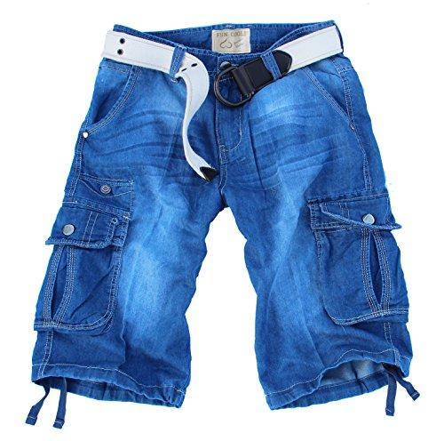 Fun Coolo Pantaloncini Corti Jeans Leggero Bermuda Cargo Short con tasconi Laterali, Taschino, e Cintura 2016 tg 46