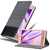 Cadorabo Hülle für Sony Xperia XZ Premium in GRAU SCHWARZ - Handyhülle mit Magnetverschluss, Standfunktion & Kartenfach - Hülle Cover Schutzhülle Etui Tasche Book Klapp Style