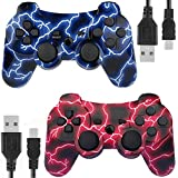 Kolopc Wireless Bluetooth Controller for PS3 Double Shock - Bundled with USB Charge Cord (BlueFlash and RedFlash)