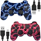 Kolopc Wireless Controller Compatible for PS3 Console, Double Vibration, 6-Axis Gyro Sensor, Upgraded Joystick Motion Gamepad with Charging Cable (BlueFlash and RedFlash)