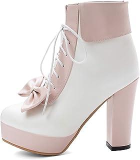 FANIMILA Women Sweet Lolita Shoes Platfrom High Heels Lace up