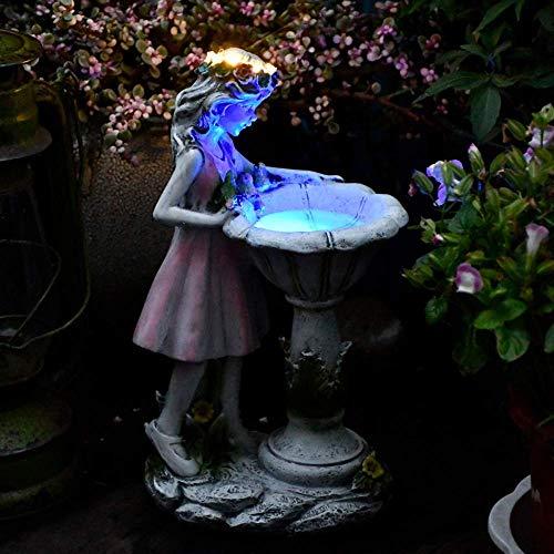 HJUYV-ERT Decoración Solar de Hadas de Flores, Adornos de ángel de Resina de jardín al Aire Libre, Manualidades de Figuras de macetas, Escultura de Patio, decoración de Estatua de Pueblo de Arte