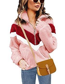 Women s Autumn Winter Long Sleeve Zipper Sherpa Fleece Sweatshirt Pullover Jacket Coat
