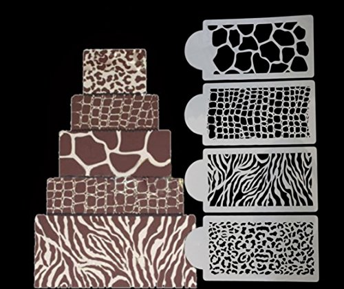 4 PC Animal and Jungle Print Decorating Stencil...