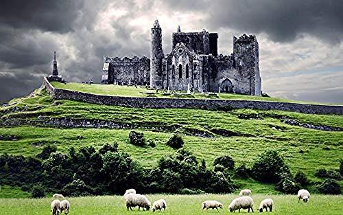XJLAC 1000 Pezzi Jigsaw Puzzles, Irlanda Castle Clouds Hill Pecore per Bambini e Adulti Puzzle di assemblaggio Personalizzato in Legno Divertente Gioco Regali