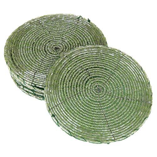 MACOSA WV48101 - Sottobicchieri in vetro, 6 pezzi, rotondi, con perle verde, 10 cm, sottobicchieri, decorazione natalizia, decorazione da tavolo