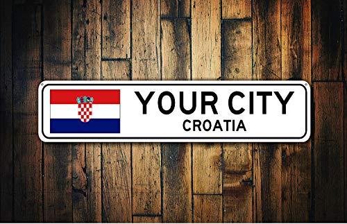 fhdang Decor Kroatien Flagge Zeichen, Kroatien Souvenir, Kroatien Geschenk, Country Souvenir, Metall City, City Schild, City Souvenir, Custom Aluminium Metall Schild, 10,2x 45,7cm