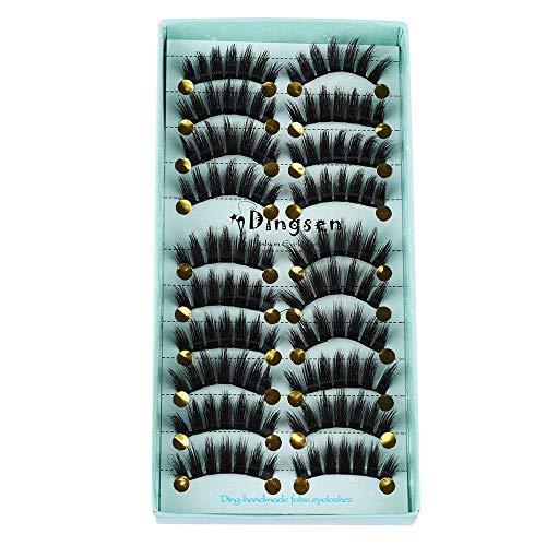 10 paires de cils artificiels 3D doux, entrecroisés cils velus et moelleux, outils de maquillage des yeux avancés-Style 01