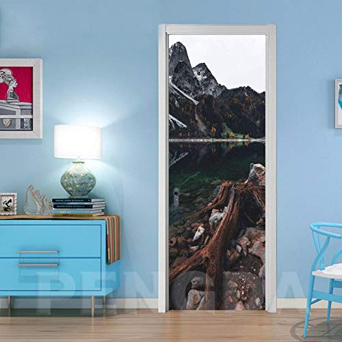 WENQI Mural De La Puerta 3D - Paisaje Natural Del Lago De Montaña Nevado 77X200 Cm Etiqueta Engomada Del Arte - Papel Pintado Autoadhesivo Calcomanía De Vinilo Para La Puerta, Carteles Pegatinas De Pa
