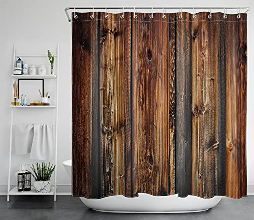 LB Farmhouse Style Rustic Barn Wood Shower Curtain Western Country Theme Primitive Rural Life Wood Texture Farm Shower Curtain 78x72 Inch Waterproof Polyester Fabric with 12 Hooks