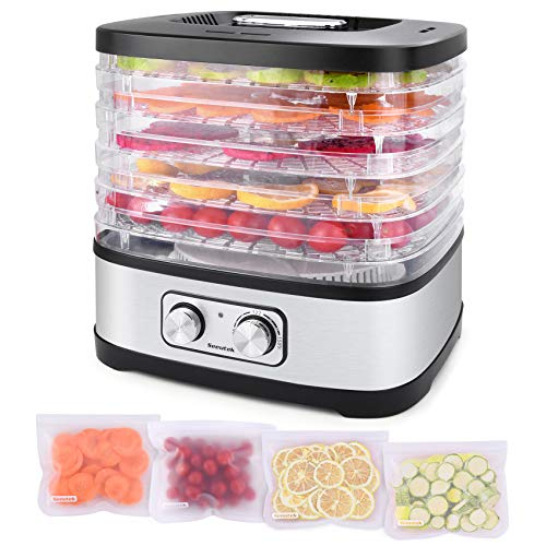 Seeutek Food Dehydrator Machine for Beef Jerky, Fruits, Vegetables Electric Dryer Machine with 5 BPA-free Trays, Adjustable Temperature Control, Recipe Book & 4PCS Reusable Storage Bags