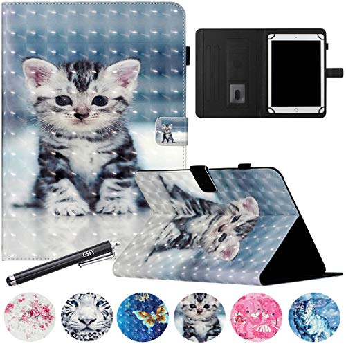 10 inch Universal Tablet Case, GSFY Wallet Stand Cover with Card Slots for iPad/Samsung Galaxy/Fire HD 10 Other 9.6 9.7 10 10.1 10.5 11 inch Models - 3D Black Cat