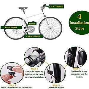 OUNDEAL Cuentakilómetros Bicicleta, Velocímetro Bicicleta Inalámbrico 16 Funciones, Ciclocomputador con Impermeable LCD Pantalla, Odómetro de Bicicleta para para el Ciclismo
