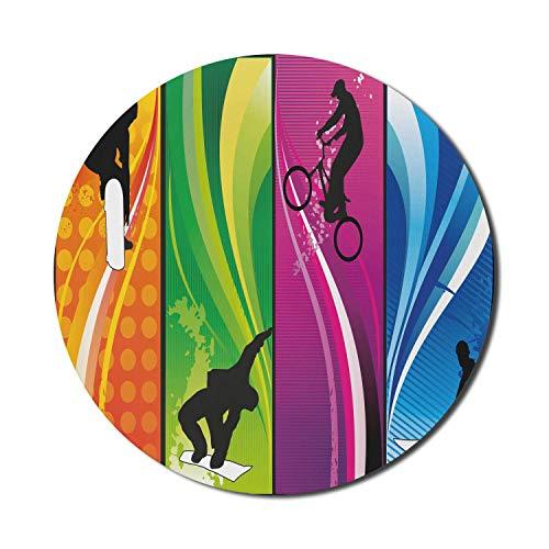 Sport-Mauspad für Computer, extreme Aktivität, die Silhouetten darstellt Lebendige Farben Surfen Bmxing Snowboarden, rundes rutschfestes dickes Gummi Modernes Gaming-Mousepad, 8 'rund, mehrfarbig